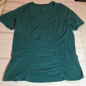 Zella Teal Ruched Athleisure Workout Tee 1X
